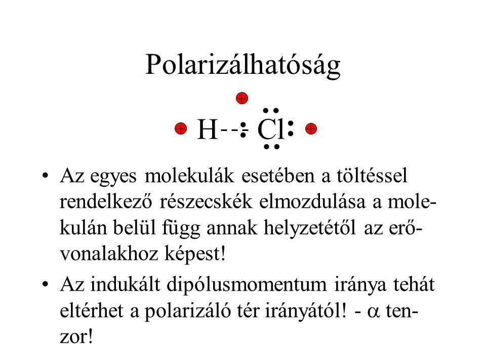 Polarizálhatóság Az egyes molekulák esetében a töltéssel rendelkező részecskék elmozdulása a mole- kulán belül függ annak helyzetétől az erő- vonalakh