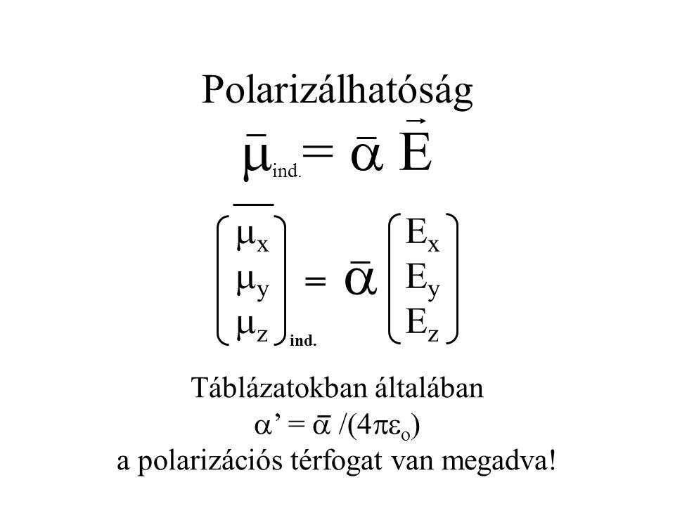 Polarizálhatóság  ind. =  E ExEyEzExEyEz xyzxyz =  ind. Táblázatokban általában  ' =  /(4  o ) a polarizációs térfogat van megadva!