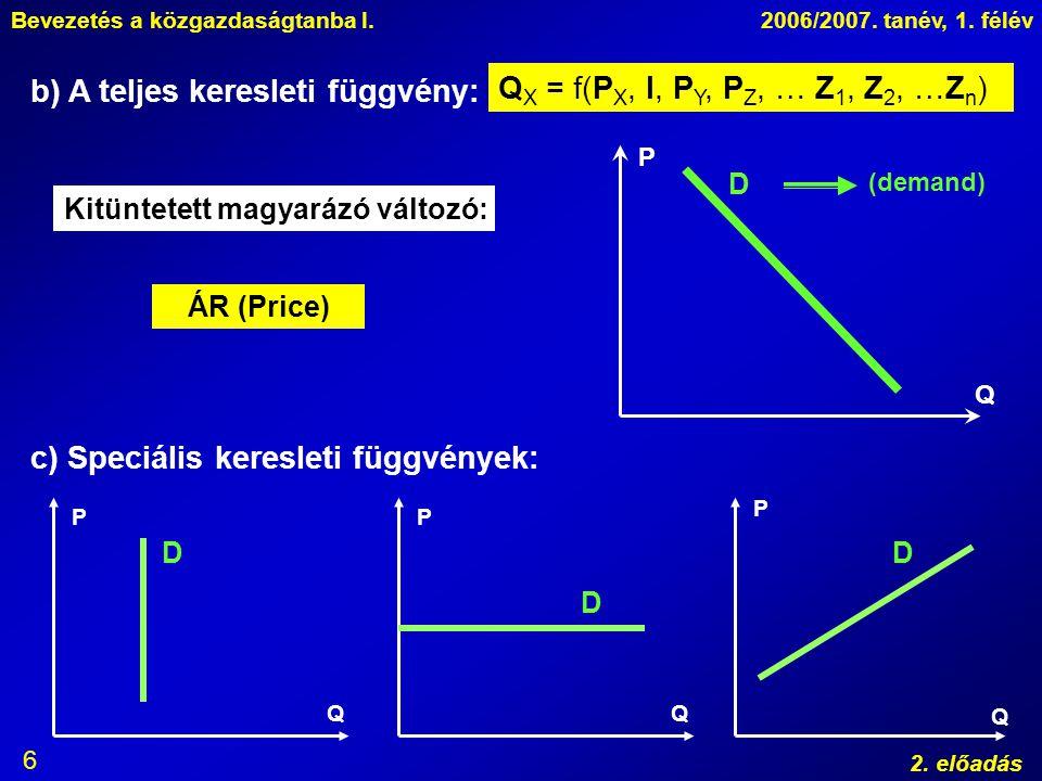 Bevezetés a közgazdaságtanba I.2006/2007. tanév, 1. félév 2. előadás 6 b) A teljes keresleti függvény: Q X = f(P X, I, P Y, P Z, … Z 1, Z 2, …Z n ) P