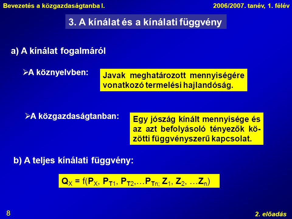Bevezetés a közgazdaságtanba I.2006/2007. tanév, 1. félév 2. előadás 8 3. A kínálat és a kínálati függvény Javak meghatározott mennyiségére vonatkozó