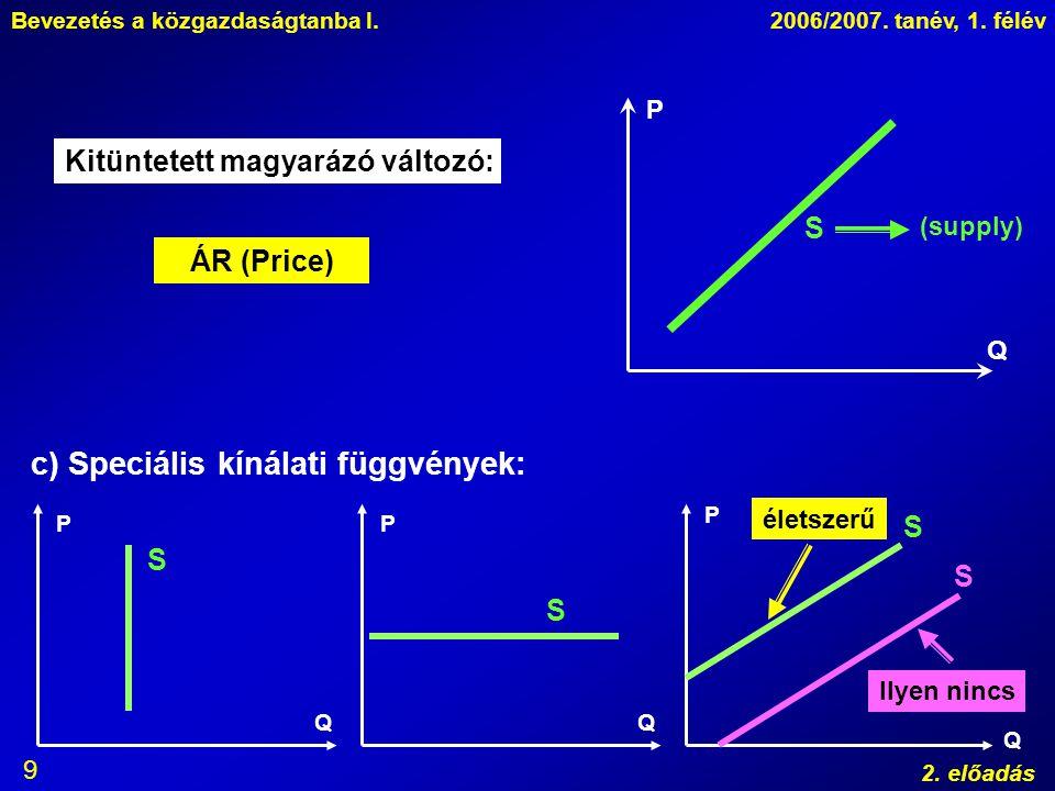 Bevezetés a közgazdaságtanba I.2006/2007. tanév, 1. félév 2. előadás 9 P Q Kitüntetett magyarázó változó: ÁR (Price) S (supply) c) Speciális kínálati