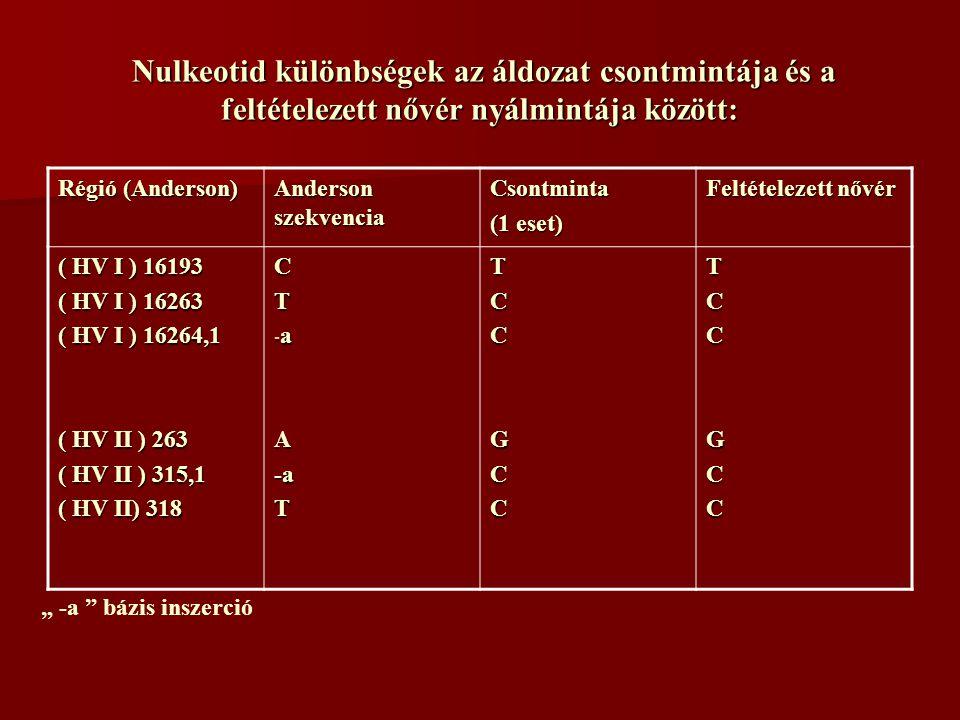 """Nulkeotid különbségek az áldozat csontmintája és a feltételezett nővér nyálmintája között: Nulkeotid különbségek az áldozat csontmintája és a feltételezett nővér nyálmintája között: Régió (Anderson) Anderson szekvencia Csontminta (1 eset) Feltételezett nővér ( HV I ) 16193 ( HV I ) 16263 ( HV I ) 16264,1 ( HV II ) 263 ( HV II ) 315,1 ( HV II) 318 CT - a A-aTTCCGCCTCCGCC """" -a bázis inszerció"""