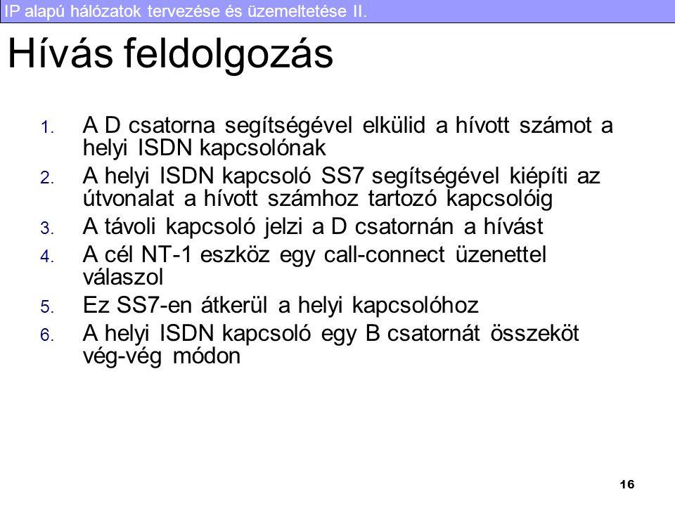 IP alapú hálózatok tervezése és üzemeltetése II. 16 Hívás feldolgozás 1.