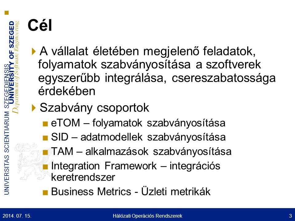 UNIVERSITY OF SZEGED D epartment of Software Engineering UNIVERSITAS SCIENTIARUM SZEGEDIENSIS Cél  A vállalat életében megjelenő feladatok, folyamato