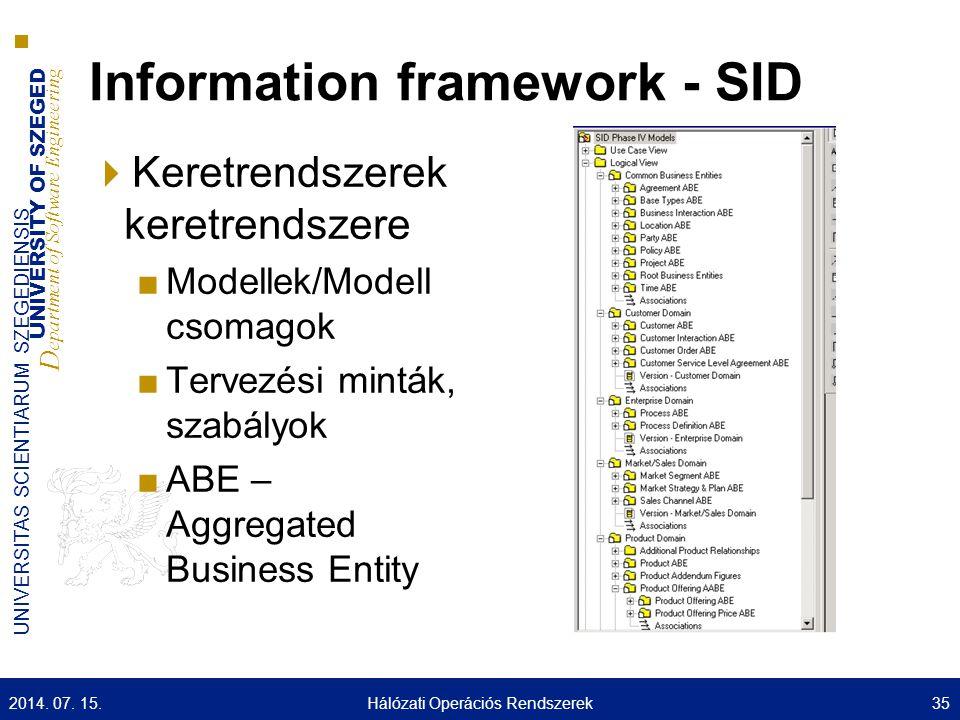 UNIVERSITY OF SZEGED D epartment of Software Engineering UNIVERSITAS SCIENTIARUM SZEGEDIENSIS Information framework - SID  Keretrendszerek keretrends