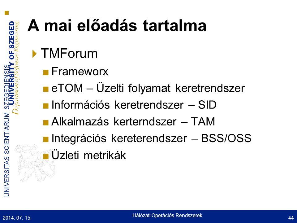 UNIVERSITY OF SZEGED D epartment of Software Engineering UNIVERSITAS SCIENTIARUM SZEGEDIENSIS A mai előadás tartalma  TMForum ■Frameworx ■eTOM – Üzel
