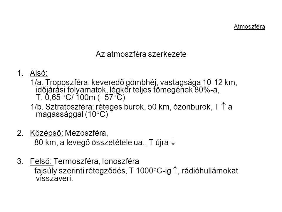 Atmoszféra Az atmoszféra szerkezete 1. Alsó: 1/a. Troposzféra: keveredő gömbhéj, vastagsága 10-12 km, időjárási folyamatok, légkör teljes tömegének 80
