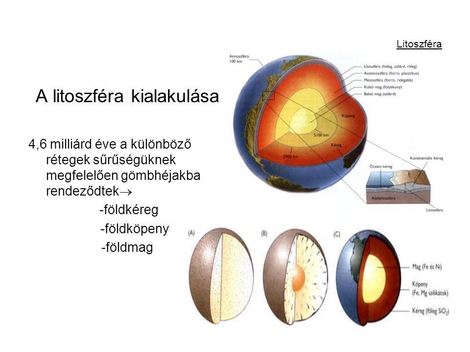 Litoszféra A litoszféra kialakulása 4,6 milliárd éve a különböző rétegek sűrűségüknek megfelelően gömbhéjakba rendeződtek  -földkéreg -földköpeny -fö