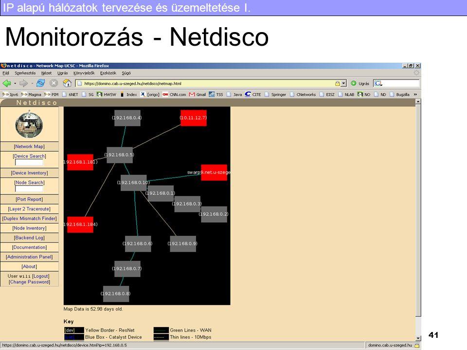 IP alapú hálózatok tervezése és üzemeltetése I. 41 Monitorozás - Netdisco