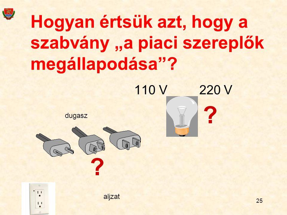 """Hogyan értsük azt, hogy a szabvány """"a piaci szereplők megállapodása""""? 110 V 220 V ? ? dugasz aljzat 25"""