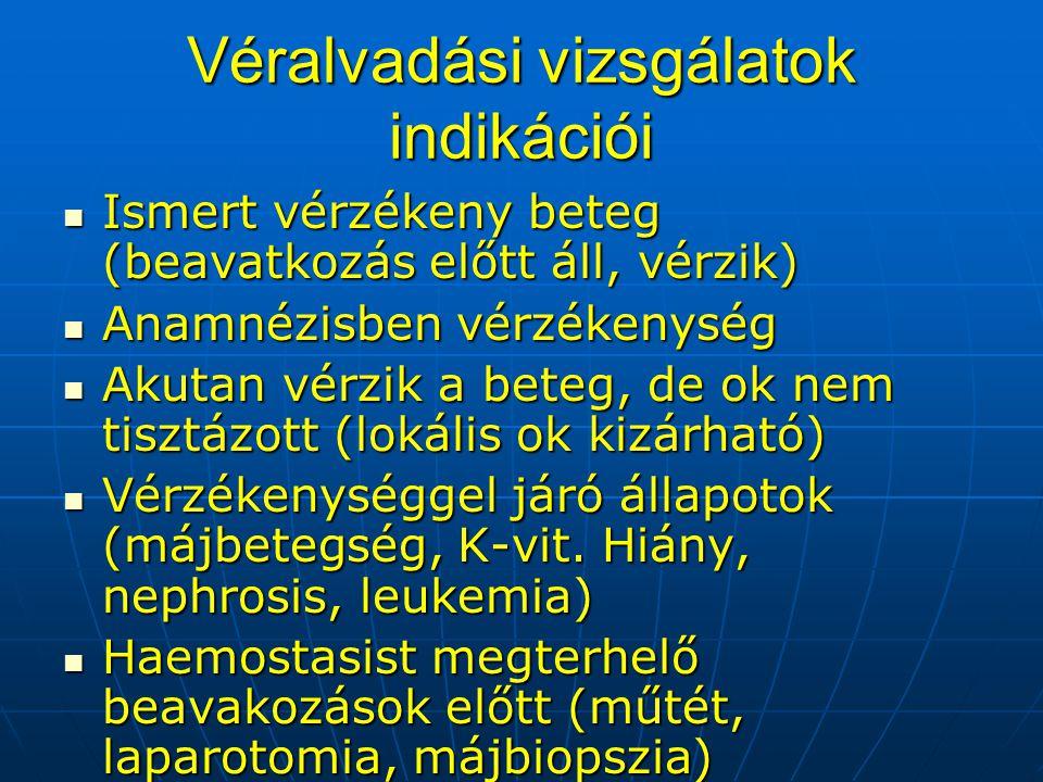 Véralvadási vizsgálatok indikációi Ismert vérzékeny beteg (beavatkozás előtt áll, vérzik) Ismert vérzékeny beteg (beavatkozás előtt áll, vérzik) Anamn