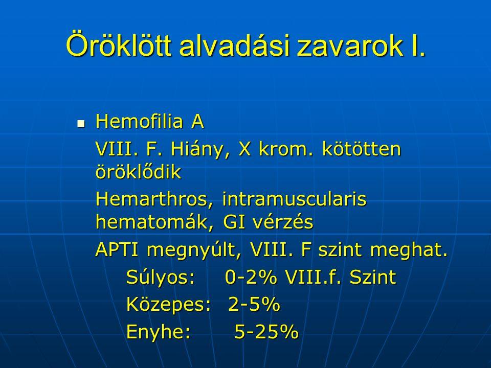 Öröklött alvadási zavarok I. Hemofilia A Hemofilia A VIII. F. Hiány, X krom. kötötten öröklődik Hemarthros, intramuscularis hematomák, GI vérzés APTI
