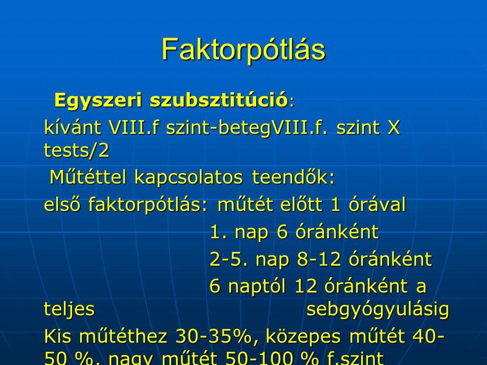 Faktorpótlás Egyszeri szubsztitúció : kívánt VIII.f szint-betegVIII.f. szint X tests/2 Műtéttel kapcsolatos teendők: Műtéttel kapcsolatos teendők: els