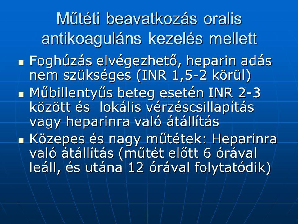Műtéti beavatkozás oralis antikoaguláns kezelés mellett Foghúzás elvégezhető, heparin adás nem szükséges (INR 1,5-2 körül) Foghúzás elvégezhető, hepar