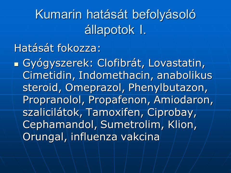 Kumarin hatását befolyásoló állapotok I. Hatását fokozza: Gyógyszerek: Clofibrát, Lovastatin, Cimetidin, Indomethacin, anabolikus steroid, Omeprazol,