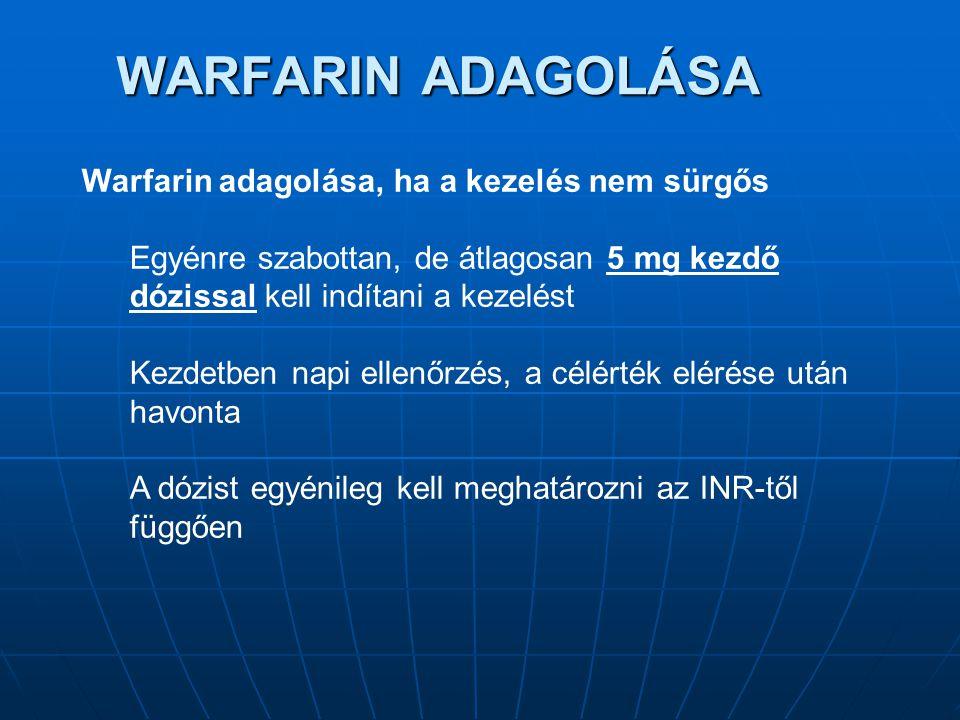 WARFARIN ADAGOLÁSA Warfarin adagolása, ha a kezelés nem sürgős Egyénre szabottan, de átlagosan 5 mg kezdő dózissal kell indítani a kezelést Kezdetben