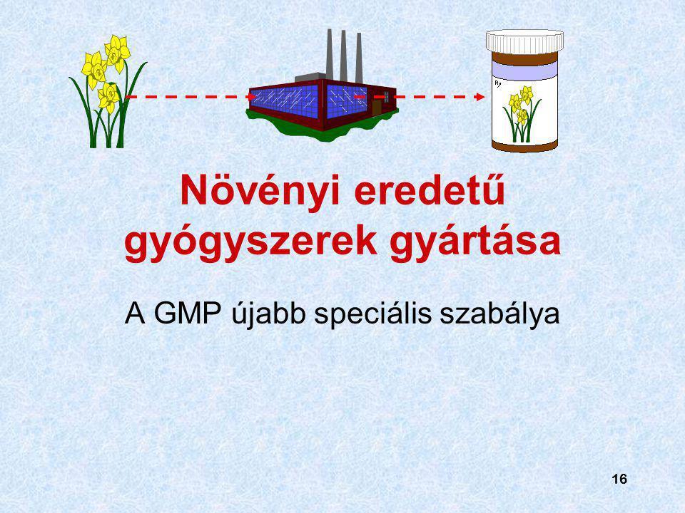 16 Növényi eredetű gyógyszerek gyártása A GMP újabb speciális szabálya