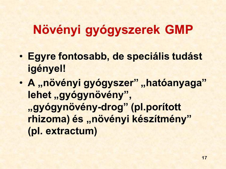 """17 Növényi gyógyszerek GMP Egyre fontosabb, de speciális tudást igényel! A """"növényi gyógyszer"""" """"hatóanyaga"""" lehet """"gyógynövény"""", """"gyógynövény-drog"""" (p"""