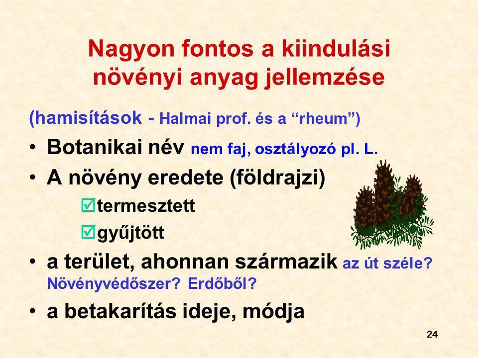 """24 Nagyon fontos a kiindulási növényi anyag jellemzése (hamisítások - Halmai prof. és a """"rheum"""") Botanikai név nem faj, osztályozó pl. L. A növény ere"""