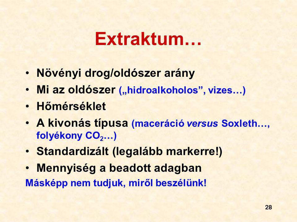 """28 Extraktum… Növényi drog/oldószer arány Mi az oldószer (""""hidroalkoholos"""", vizes…) Hőmérséklet A kivonás típusa (maceráció versus Soxleth…, folyékony"""