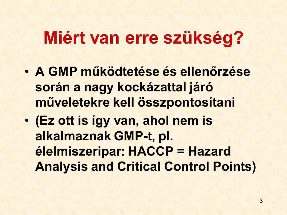 3 Miért van erre szükség? A GMP működtetése és ellenőrzése során a nagy kockázattal járó műveletekre kell összpontosítani (Ez ott is így van, ahol nem