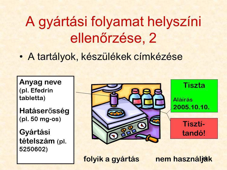 66 A gyártási folyamat helyszíni ellenőrzése, 2 A tartályok, készülékek címkézése Anyag neve (pl. Efedrin tabletta) Hatáser ő sség (pl. 50 mg-os) Gyár