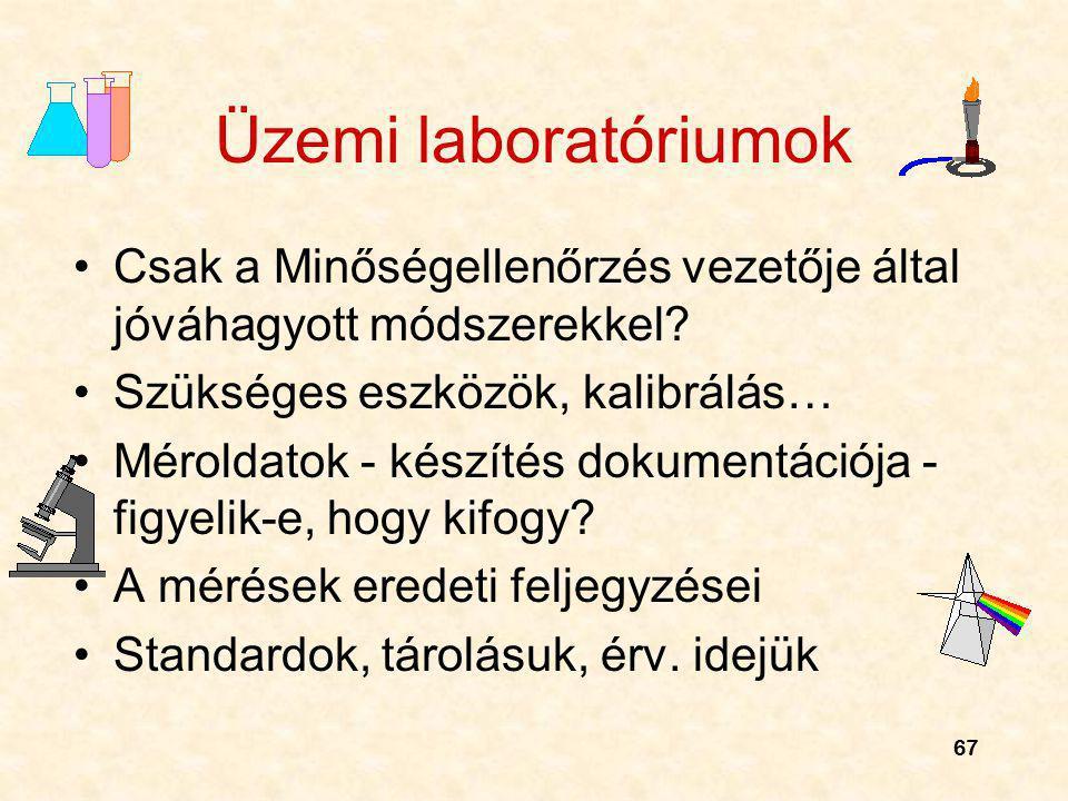 67 Üzemi laboratóriumok Csak a Minőségellenőrzés vezetője által jóváhagyott módszerekkel? Szükséges eszközök, kalibrálás… Méroldatok - készítés dokume