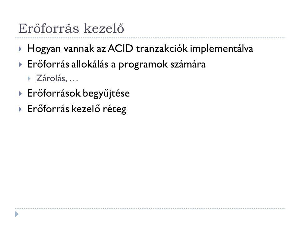 Erőforrás kezelő  Hogyan vannak az ACID tranzakciók implementálva  Erőforrás allokálás a programok számára  Zárolás, …  Erőforrások begyűjtése  E
