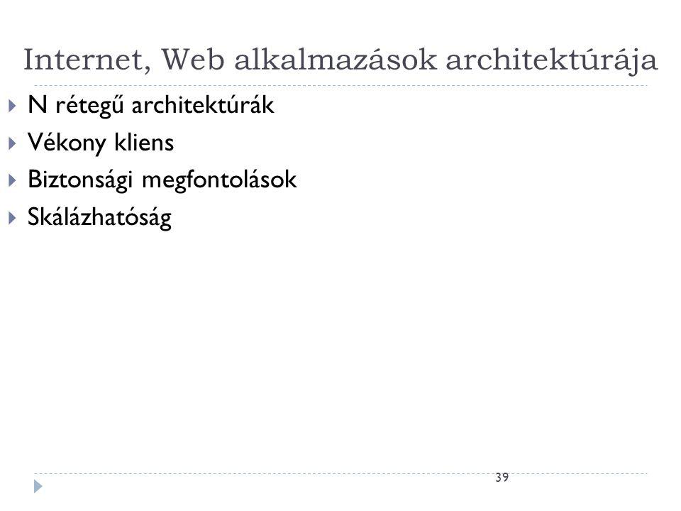 39 Internet, Web alkalmazások architektúrája  N rétegű architektúrák  Vékony kliens  Biztonsági megfontolások  Skálázhatóság