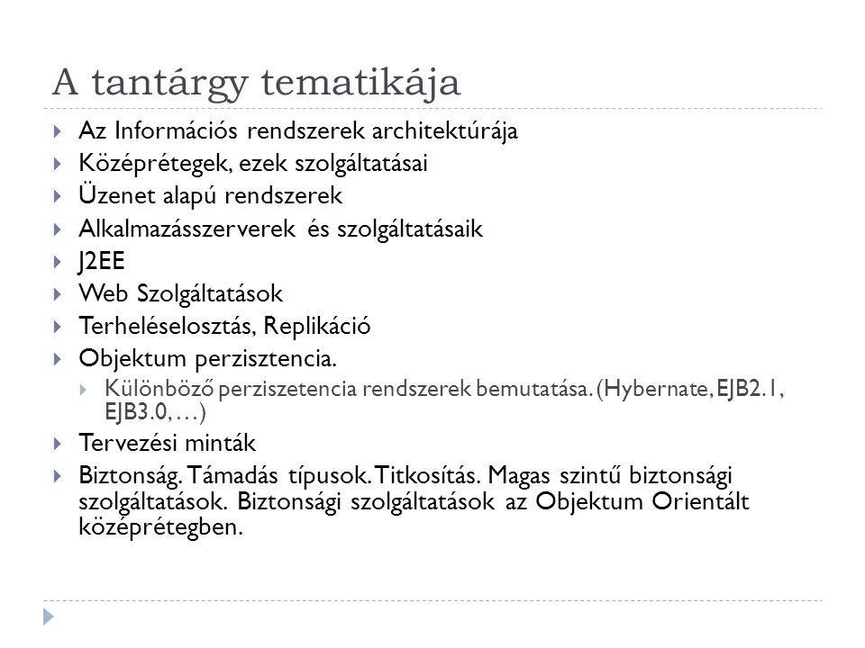 A tantárgy tematikája  Az Információs rendszerek architektúrája  Középrétegek, ezek szolgáltatásai  Üzenet alapú rendszerek  Alkalmazásszerverek é
