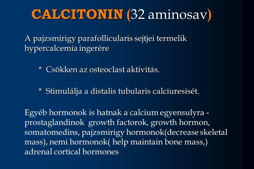 CALCITONIN ( 32 aminosav ) A pajzsmirigy parafollicularis sejtjei termelik hypercalcemia ingerére A pajzsmirigy parafollicularis sejtjei termelik hype