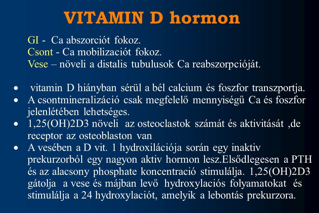 GI - Ca abszorciót fokoz. Csont - Ca mobilizaciót fokoz. Vese – növeli a distalis tubulusok Ca reabszorpcióját.  vitamin D hiányban sérül a bél calci