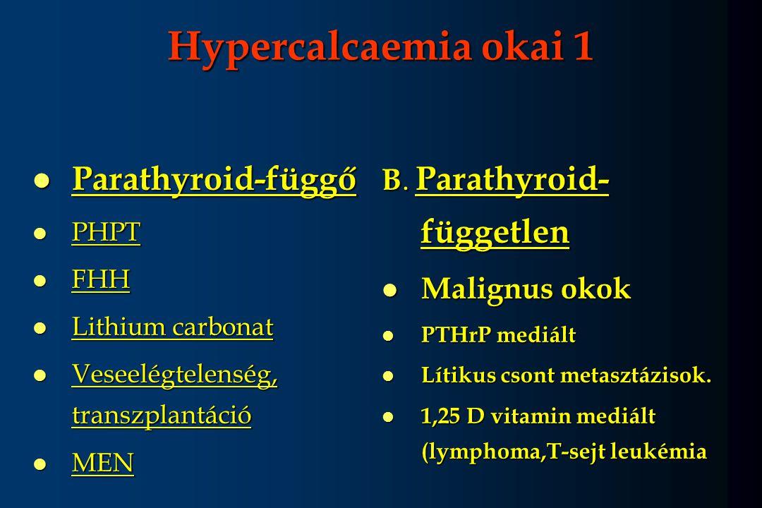 Hypercalcaemia okai 1 l Parathyroid-függő l PHPT l FHH l Lithium carbonat l Veseelégtelenség, transzplantáció l MEN B. Parathyroid- független l Malign