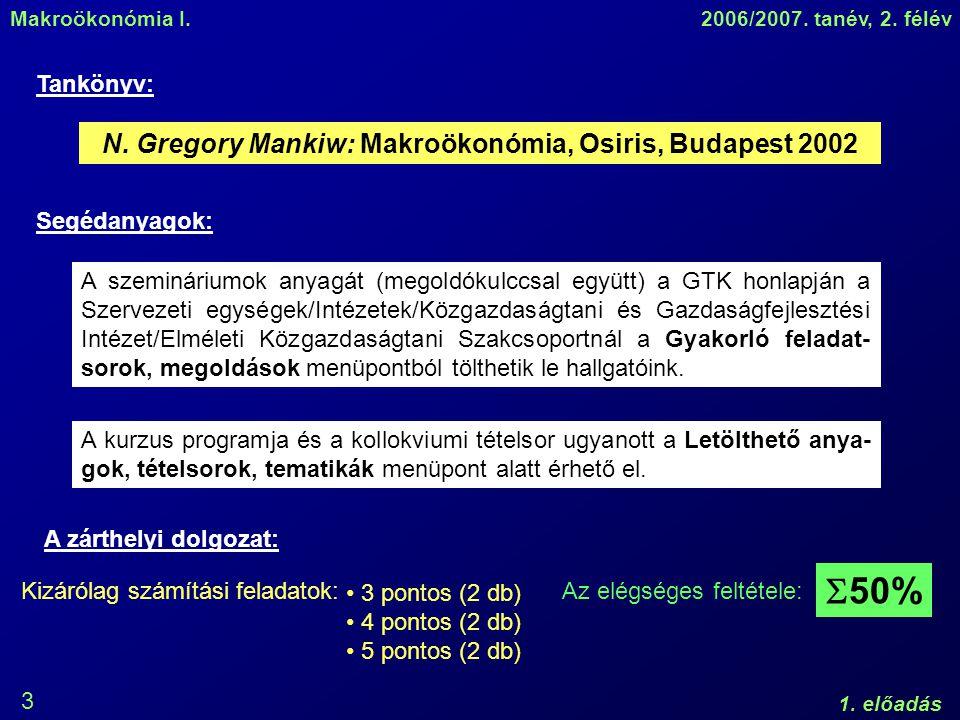 Makroökonómia I.2006/2007. tanév, 2. félév 1. előadás 3 N.