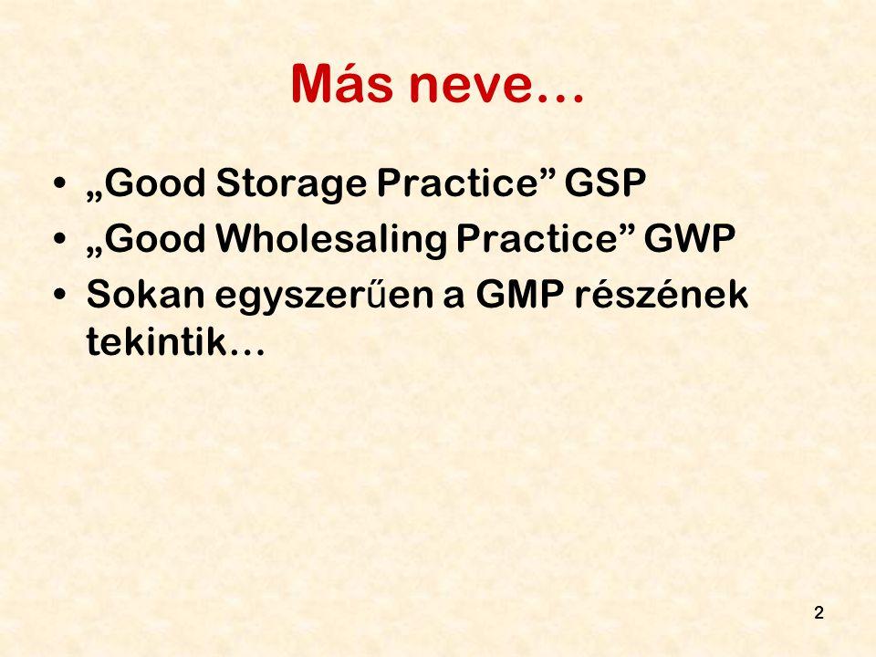 """2 Más neve… """"Good Storage Practice"""" GSP """"Good Wholesaling Practice"""" GWP Sokan egyszer ű en a GMP részének tekintik…"""