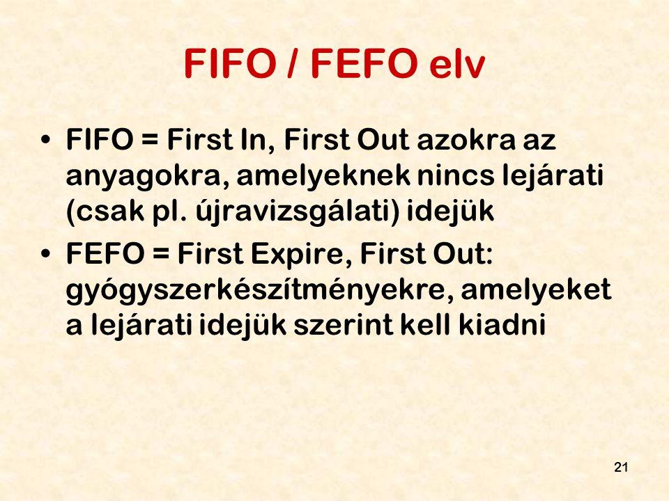 21 FIFO / FEFO elv FIFO = First In, First Out azokra az anyagokra, amelyeknek nincs lejárati (csak pl. újravizsgálati) idejük FEFO = First Expire, Fir