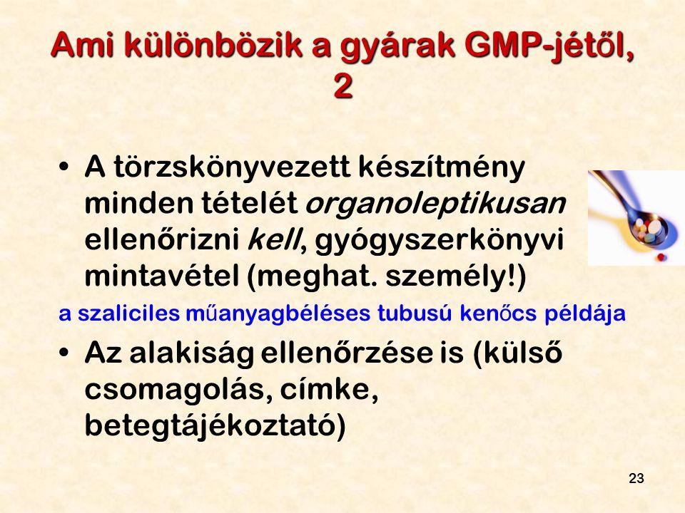 23 Ami különbözik a gyárak GMP-jét ő l, 2 A törzskönyvezett készítmény minden tételét organoleptikusan ellen ő rizni kell, gyógyszerkönyvi mintavétel