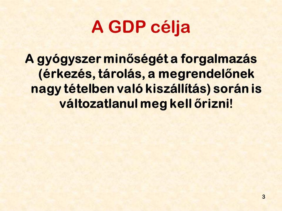 3 A GDP célja A gyógyszer min ő ségét a forgalmazás (érkezés, tárolás, a megrendel ő nek nagy tételben való kiszállítás) során is változatlanul meg ke