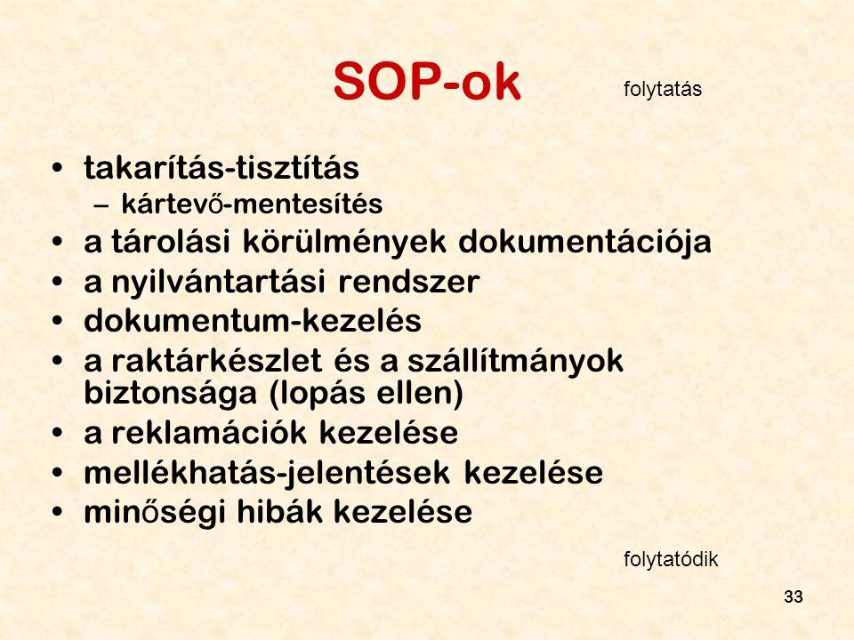 33 SOP-ok takarítás-tisztítás –kártev ő -mentesítés a tárolási körülmények dokumentációja a nyilvántartási rendszer dokumentum-kezelés a raktárkészlet