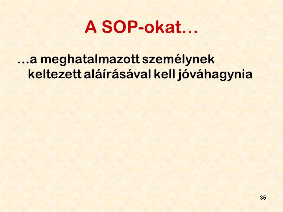 35 A SOP-okat… …a meghatalmazott személynek keltezett aláírásával kell jóváhagynia