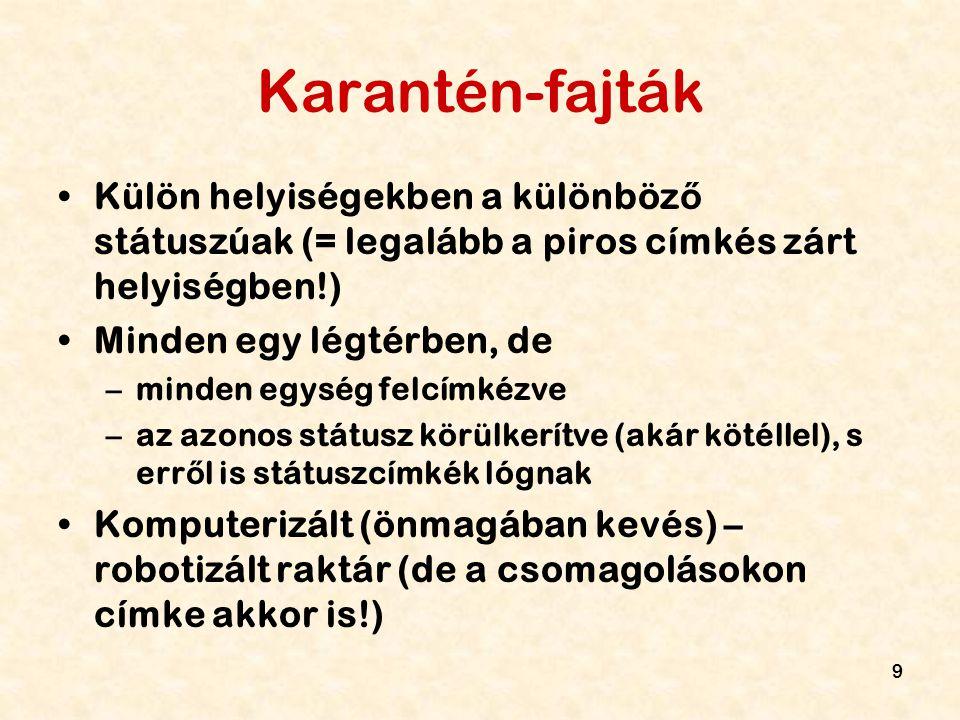9 Karantén-fajták Külön helyiségekben a különböz ő státuszúak (= legalább a piros címkés zárt helyiségben!) Minden egy légtérben, de –minden egység fe