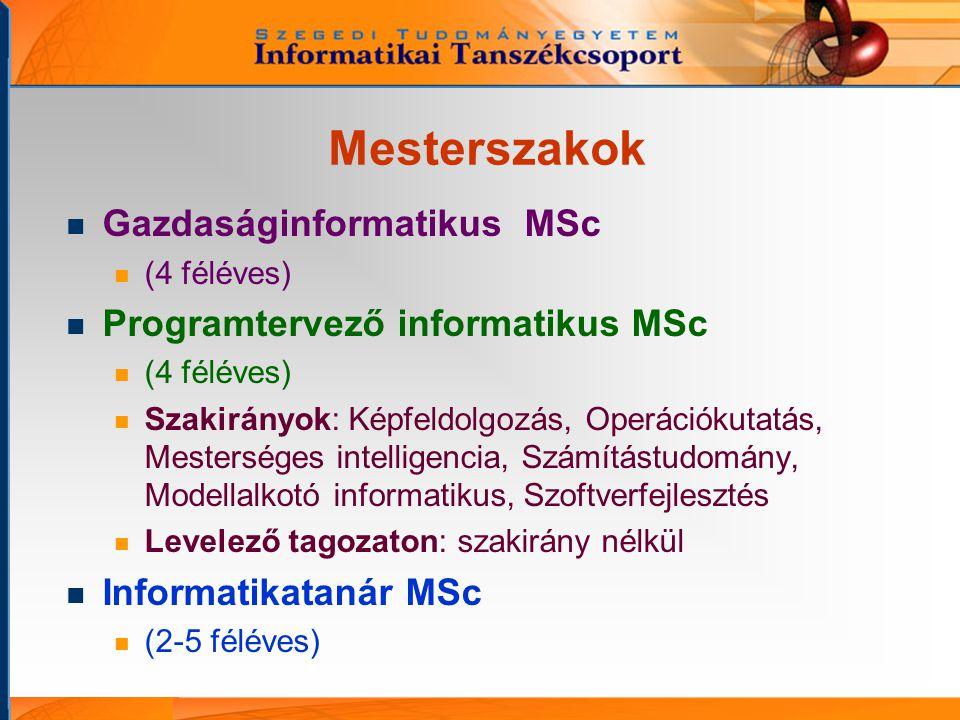 Mesterszakok Gazdaságinformatikus MSc (4 féléves) Programtervező informatikus MSc (4 féléves) Szakirányok: Képfeldolgozás, Operációkutatás, Mesterséges intelligencia, Számítástudomány, Modellalkotó informatikus, Szoftverfejlesztés Levelező tagozaton: szakirány nélkül Informatikatanár MSc (2-5 féléves)