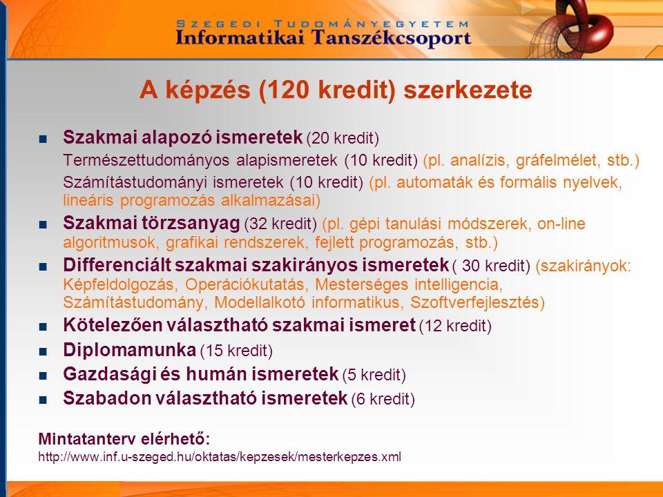 A képzés (120 kredit) szerkezete Szakmai alapozó ismeretek (20 kredit) Természettudományos alapismeretek (10 kredit) (pl.