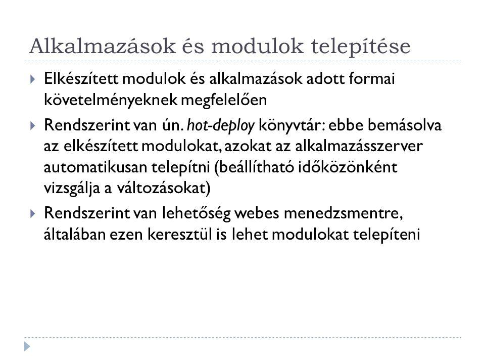 Alkalmazások és modulok telepítése  Elkészített modulok és alkalmazások adott formai követelményeknek megfelelően  Rendszerint van ún. hot-deploy kö