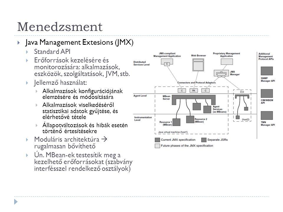Menedzsment  Java Management Extesions (JMX)  Standard API  Erőforrások kezelésére és monitorozására: alkalmazások, eszközök, szolgáltatások, JVM,