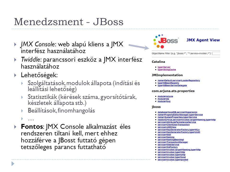 Menedzsment - JBoss  JMX Console: web alapú kliens a JMX interfész használatához  Twiddle: parancssori eszköz a JMX interfész használatához  Lehető