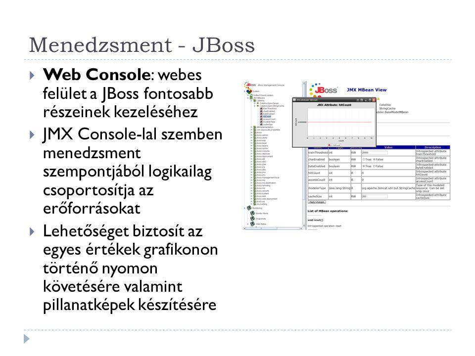 Menedzsment - JBoss  Web Console: webes felület a JBoss fontosabb részeinek kezeléséhez  JMX Console-lal szemben menedzsment szempontjából logikaila