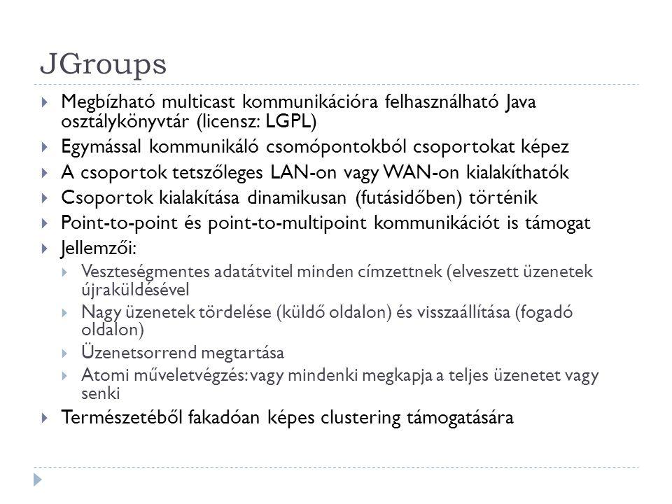 JGroups  Megbízható multicast kommunikációra felhasználható Java osztálykönyvtár (licensz: LGPL)  Egymással kommunikáló csomópontokból csoportokat k