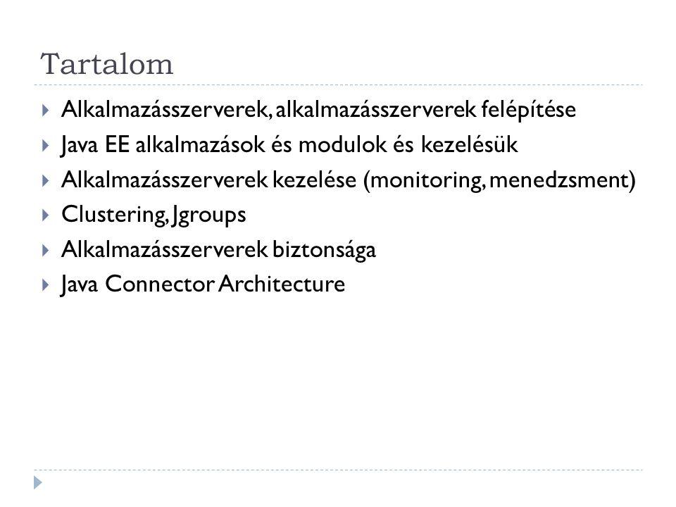 """Clustering - JBoss  Állapottovábbítás:  HA-JNDI (high availability):  Teljes clusterre kiterjedő JNDI  Mellette minden példányban saját lokális JNDI  Az alkalmazásnak tudnia kell a HA-JNDI jelenlétéről: jndi.properties fájlba: java.naming.provier.url=server1:1100,server2:1100,server3:1100 <mbean code= org.jboss.ha.jndi.HANamingService"""" name= jboss:service=HAJNDI > jboss:service=DefaultPartition @Stateless @Clustered public class MyBean implements MySessionInt { public void test() { // Do something cool }"""