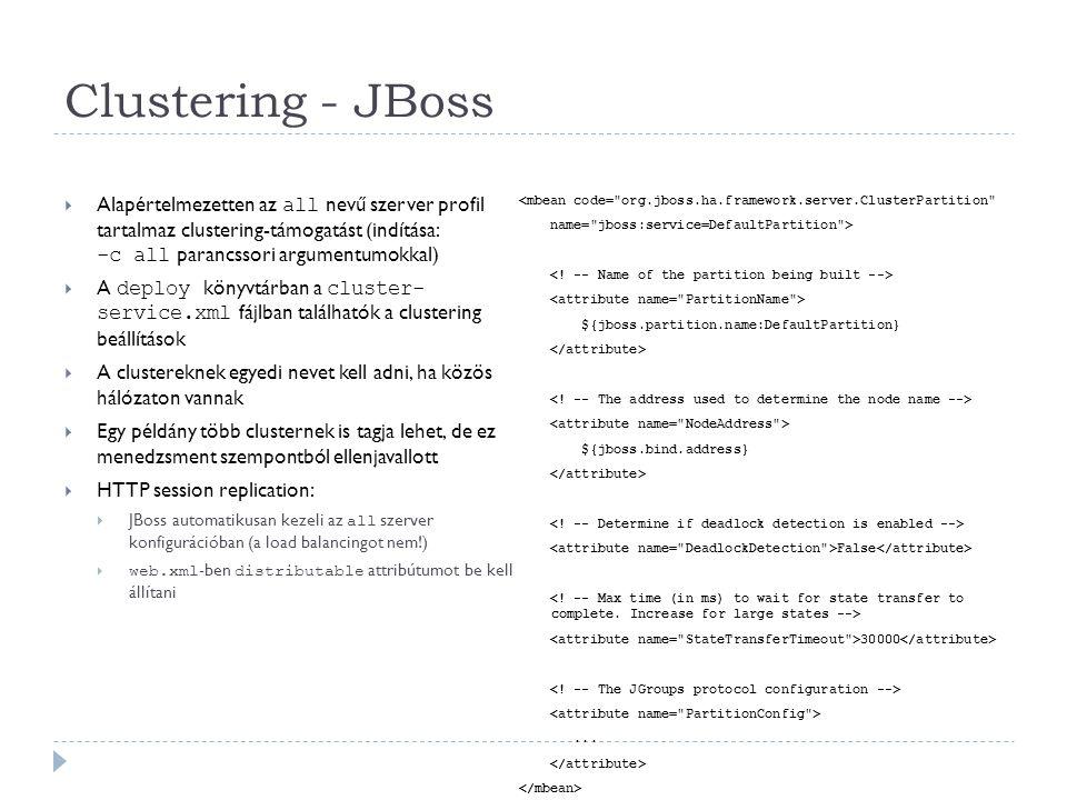 Clustering - JBoss  Alapértelmezetten az all nevű szerver profil tartalmaz clustering-támogatást (indítása: -c all parancssori argumentumokkal)  A d